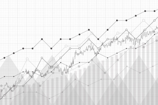 Financial data graph chart, vector illustration. Growth company profit economic concept. Trend lines, columns, market economy information background.